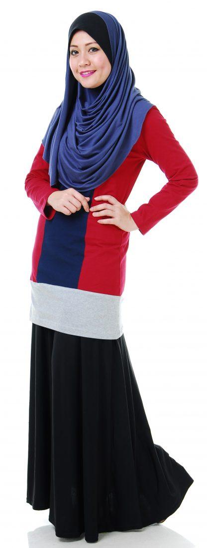 T Shirt Muslimah Haleema H901 Blue/Maroon 3