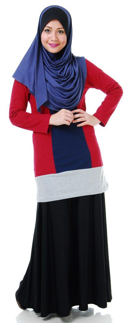 T Shirt Muslimah Haleema H901 Blue/Maroon 1