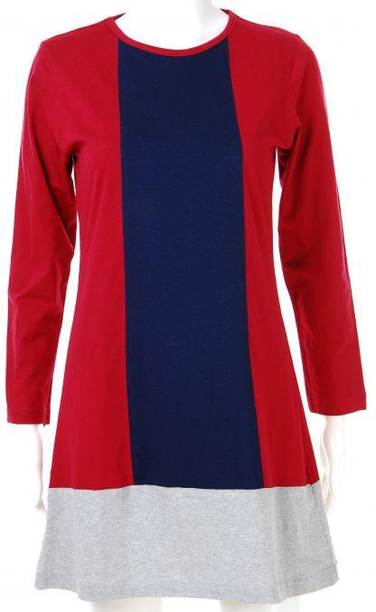 T Shirt Muslimah Haleema H901 Blue/Maroon 2