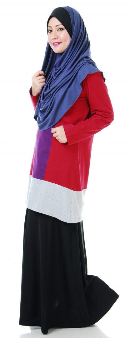 T Shirt Muslimah Haleema H901B Maroon/Purple 3
