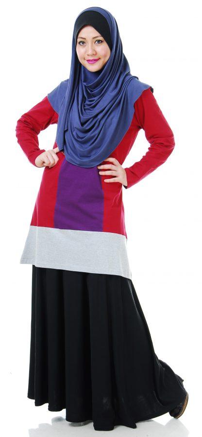 T Shirt Muslimah Haleema H901B Maroon/Purple 1