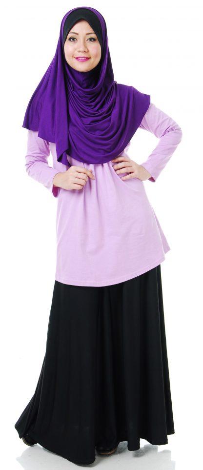 T Shirt Muslimah Haleema H904B Purple 1