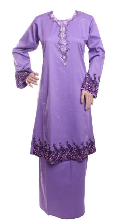 Baju Kurung Pahang Kapas Lace Bermanik  BKP15