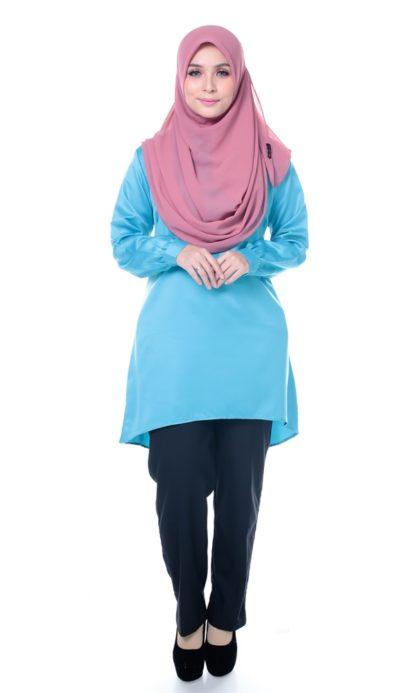 Satin Blouse Muslimah Lia05 Light Blue 3