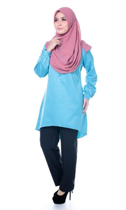 Satin Blouse Muslimah Lia05 Light Blue 2