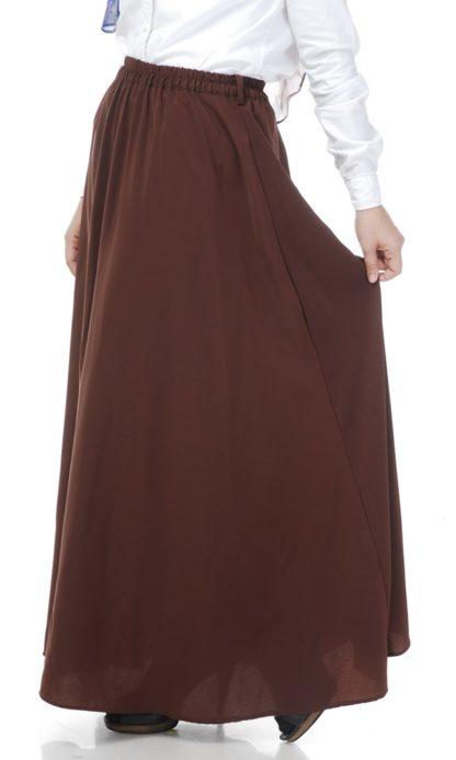 Skirt Labuh Muslimah Lara01 Dark Brown 1