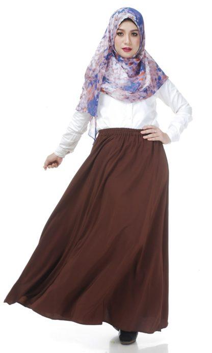 Skirt Labuh Muslimah Lara01 Dark Brown 2