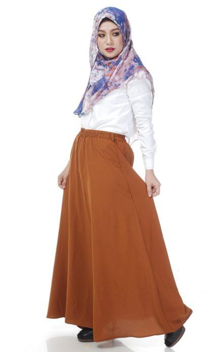Skirt Labuh Muslimah Lara02 Rust Brown 2