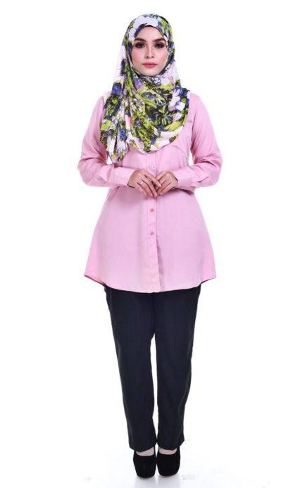 Shira21 Kemeja Wanita Pink 1