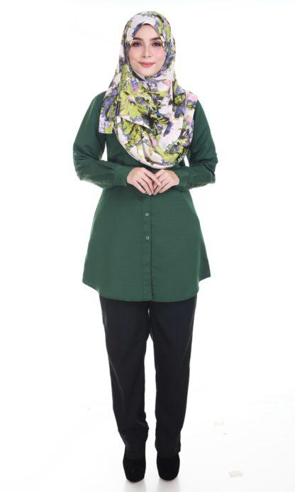 Shira06 Kemeja Wanita Dark Green 1