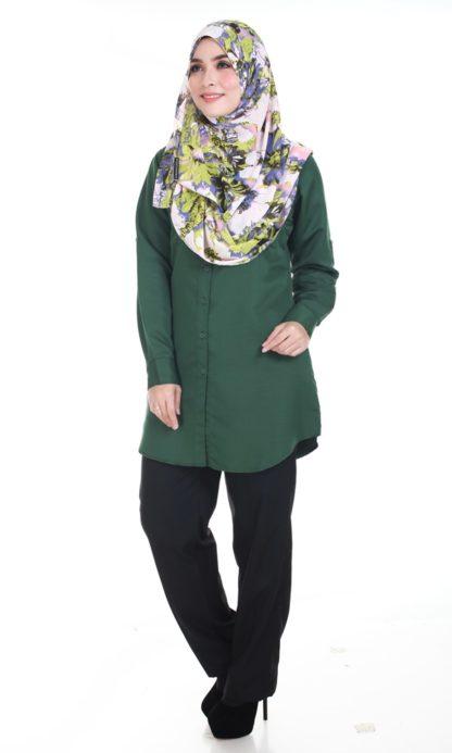 Shira06 Kemeja Wanita Dark Green 5