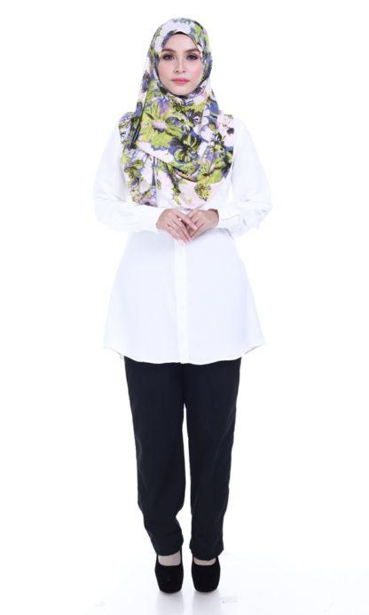 Shira24 Kemeja Wanita Pearl White 1
