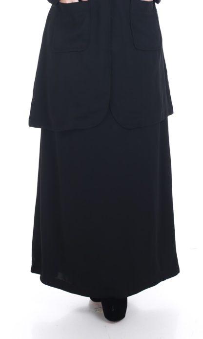 Husna01 Skirt Labuh A Line Officewear Black 2
