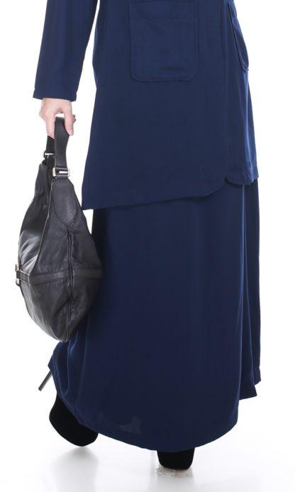 Husna02 Skirt Labuh A Line Officewear Navy Blue 1