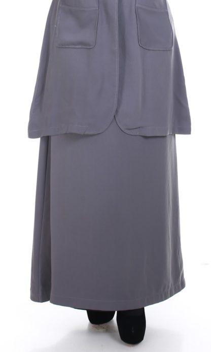 Husna03 Skirt Labuh A Line Officewear Grey 2