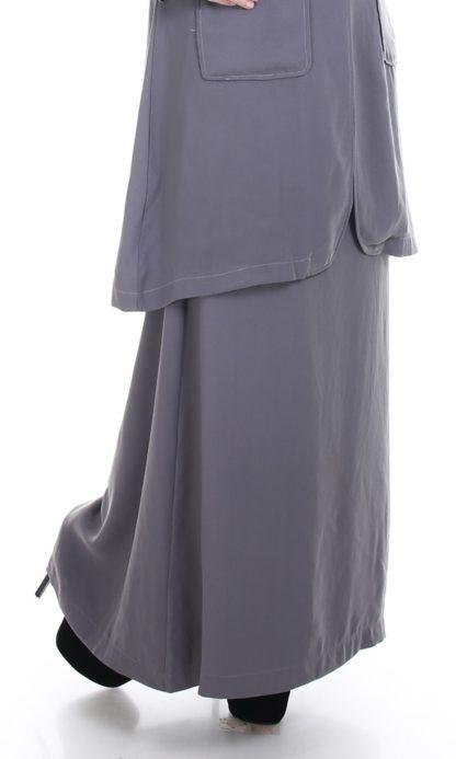 Husna03 Skirt Labuh A Line Officewear Grey 1