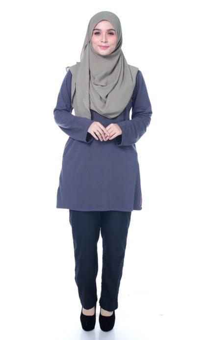 T Shirt Muslimah Haleema H9016A Grey 1