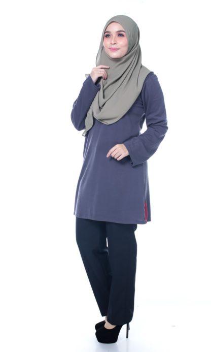 T Shirt Muslimah Haleema H9016A Grey 2