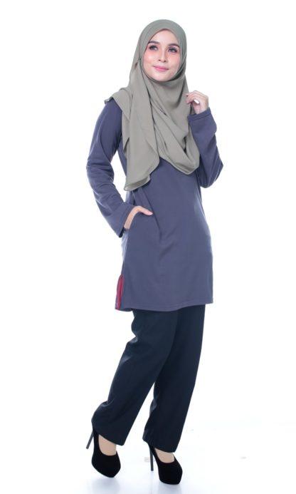 T Shirt Muslimah Haleema H9016A Grey 5