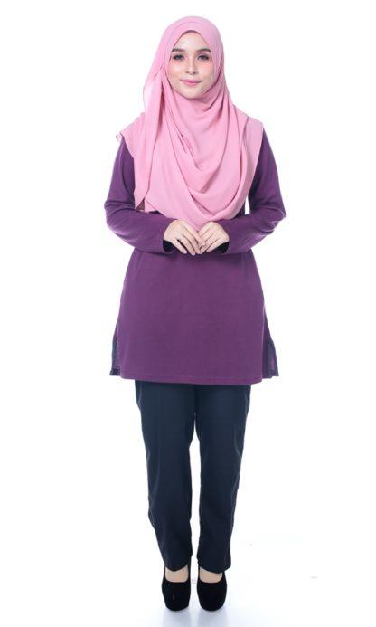 T Shirt Muslimah Haleema H9016B Purple 1