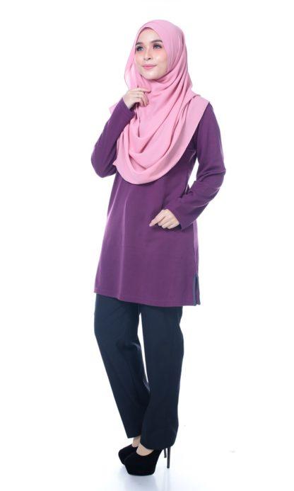 T Shirt Muslimah Haleema H9016B Purple 2