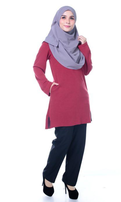 T Shirt Muslimah Haleema H9016C Maroon 4