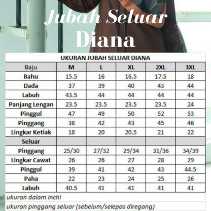 Diana02 Jubah Seluar Eksklusif Blue Black 5