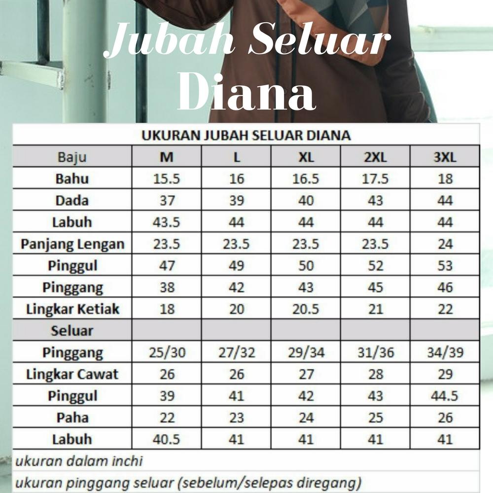 Ukuran Jubah Seluar Diana