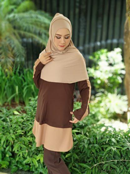 T Shirt Muslimah Haleema H9017C Brown 1