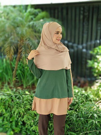 T Shirt Muslimah Haleema H9017A Green 1