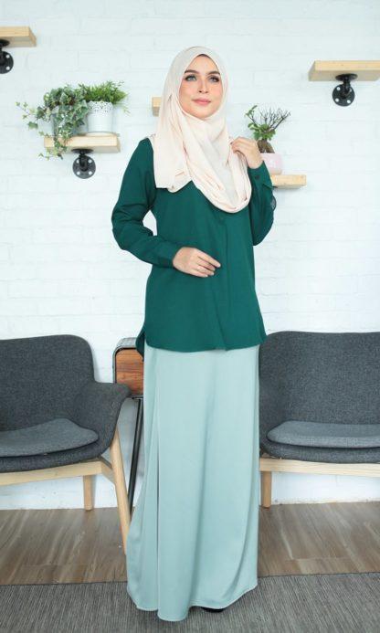 Fyha02 Blouse Office Wanita Emerald Green 1
