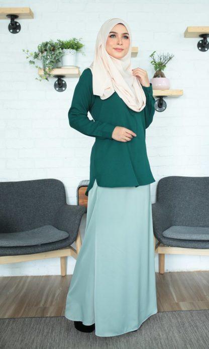 Fyha02 Blouse Office Wanita Emerald Green 5