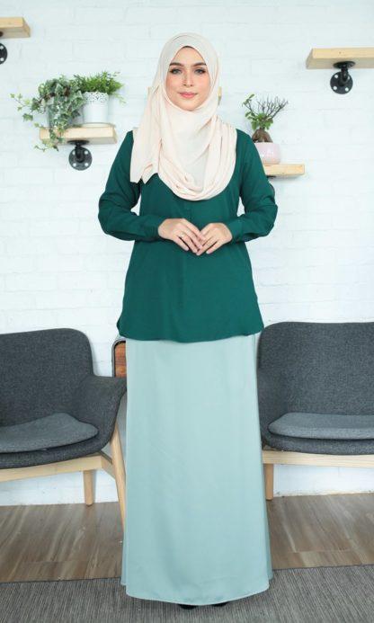 Fyha02 Blouse Office Wanita Emerald Green 4