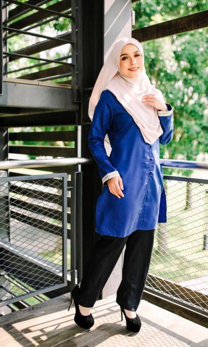 Dalia04 - Tunik Blouse Muslimah Cotton Labuh Biru 1