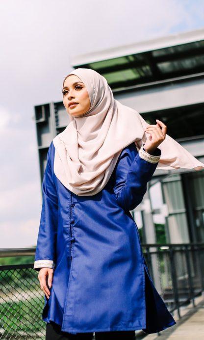 Dalia04 - Tunik Blouse Muslimah Cotton Labuh Biru 2