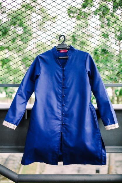 Dalia04 - Tunik Blouse Muslimah Cotton Labuh Biru 3