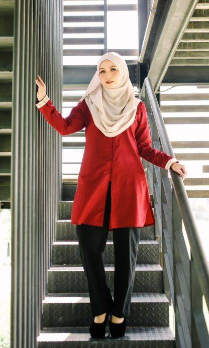 Dalia01- Tunik Blouse Muslimah Cotton Labuh Merah 1
