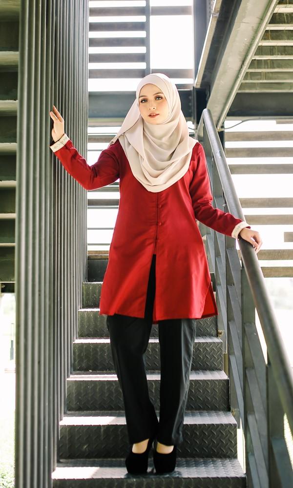 Dalia01- Tunik Blouse Muslimah Cotton Labuh Merah 14