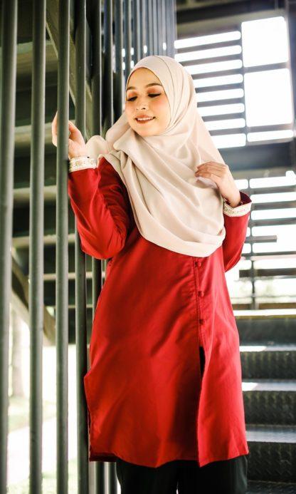 Dalia01- Tunik Blouse Muslimah Cotton Labuh Merah 3