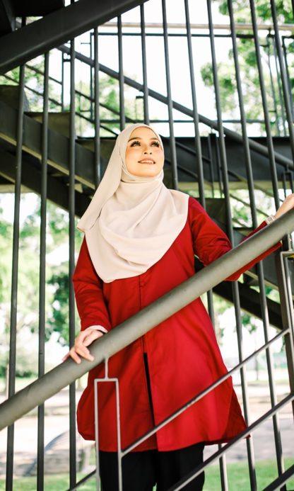 Dalia01- Tunik Blouse Muslimah Cotton Labuh Merah 4