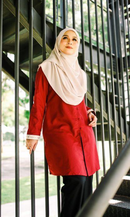 Dalia01- Tunik Blouse Muslimah Cotton Labuh Merah 5