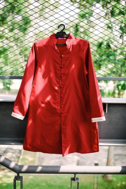 Dalia01- Tunik Blouse Muslimah Cotton Labuh Merah 6