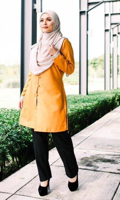 Dalia02- Tunik Blouse Muslimah Cotton Labuh Kuning 1