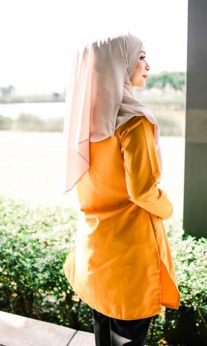 Dalia02- Tunik Blouse Muslimah Cotton Labuh Kuning 2