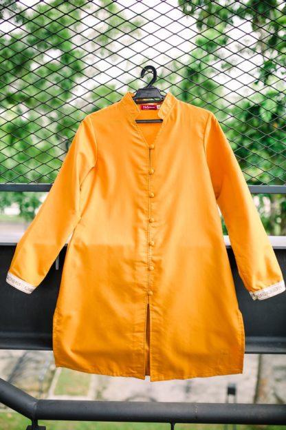 Dalia02- Tunik Blouse Muslimah Cotton Labuh Kuning 3