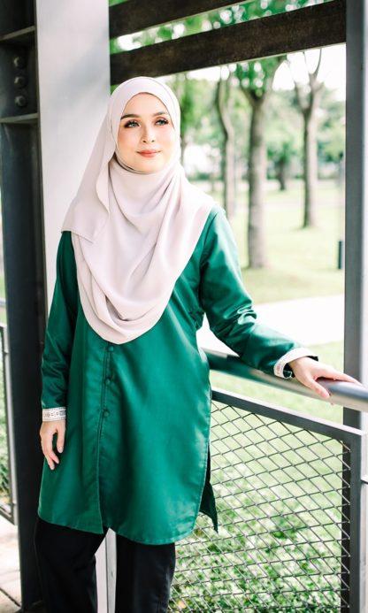 Dalia03- Tunik Blouse Muslimah Cotton Labuh Hijau 2