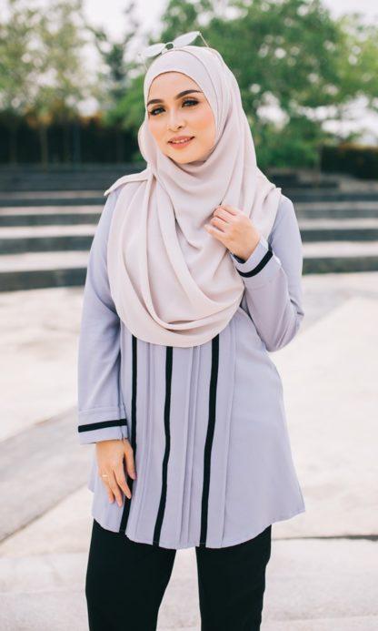Nur02 Blouse Muslimah Kelabu 2