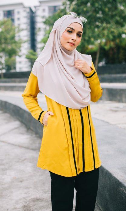 Nur01 Blouse Muslimah Mustard 2