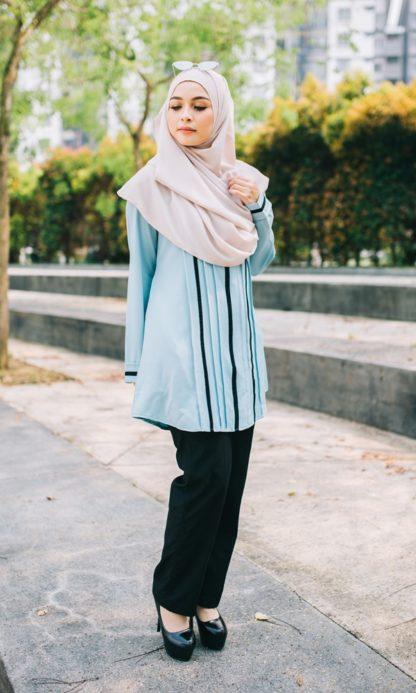 Nur05 Blouse Muslimah Light Blue 1
