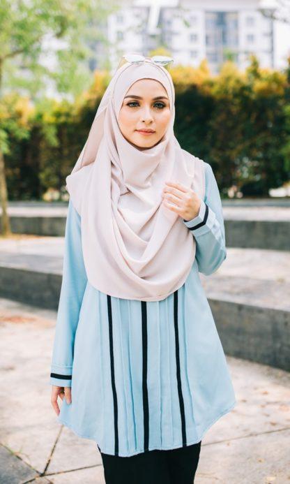 Nur05 Blouse Muslimah Light Blue 2
